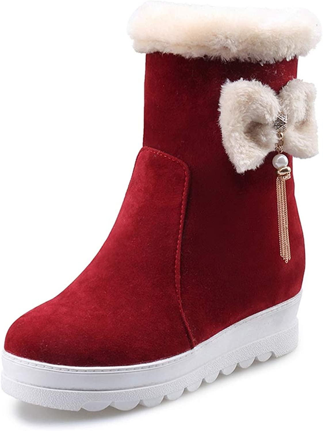 T-JULY Platform Warm shoes Woman Snow Boots Slip On Add Fur Winter Woman shoes Mid Calf Boots Large Size 34-43