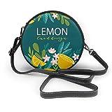 Bolso cruzado redondo de piel sintética con cremallera para el hombro, diseño de árboles de cítricos, limones y flores
