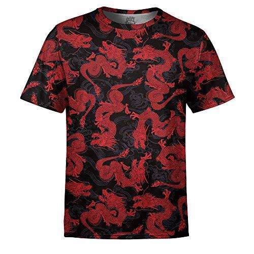 Camiseta Masculina Dragão Chinês Vermelho Estampa Digital - G
