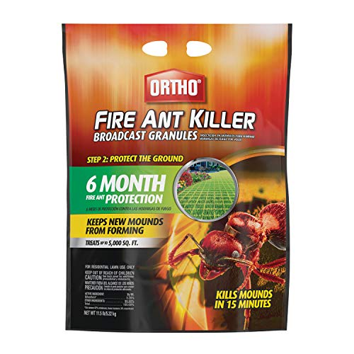 Ortho Fire Ant Killer Broadcast Granules: Treats up to 5,000 sq. ft, Prevent New Mounds from Forming, Provides 6 Months of Outdoor Lawn Protection, 11.5 lbs