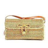 Kbinter Handwoven Rattan Straw Bag for Women Shoulder Leather Button Straps Natural Chic Handmade Boho Bag Bali Purse, 1 Pc, Large