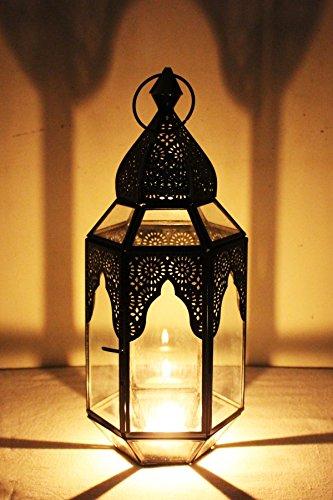 Orientalische Laterne aus Metall & Glas Haifana klar 32cm | orientalisches Windlicht | Marokkanische Glaslaterne für innen | Marokkanisches Gartenwindlicht für draußen als Gartenlaterne