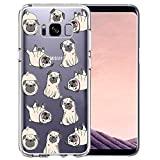 Unov Case Compatible with Galaxy S8 Clear with Design Soft TPU Shock Absorption Slim Embossed Pattern Protective Back Cover (Pug Dog)