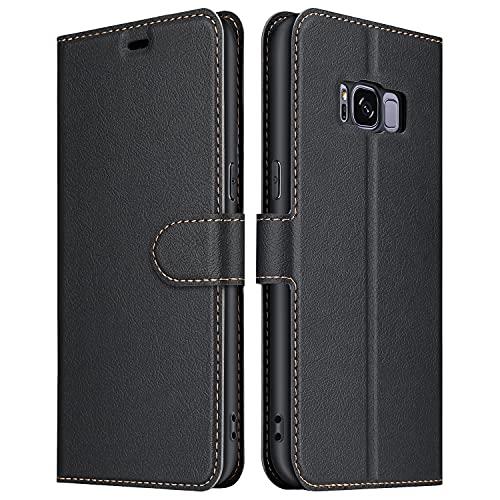 ELESNOW Coque pour Samsung Galaxy S8, Premium Portefeuille Étui Housse en Cuir Compatible avec Samsung Galaxy S8 (Noir)