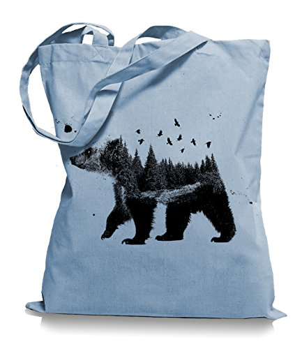 Ma2ca® Canada Bear Nature Bären Kanada Stoffbeutel Einkaufstasche Tasche Tragetasche/Bag WM101-skyblue