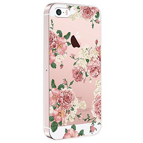 Pacyer Case kompatibel mit iPhone SE Hülle Silikon Ultra dünn Transparent iPhone 5S iPhone 5 Handyhülle Rückschale TPU Schutzhülle für Apple iPhone SE / 5S / 5 Cover Mädchen Elefant Federn (Blumen 6)