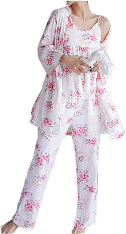 Three-Piece Japanese Style Kimono Cotton Pajamas Suit Tracksuit Bathrobe, pink