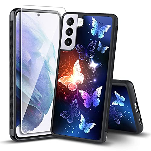 ITELINMON Samsung Galaxy S21 5G Case (2021) 6.2 Inch Night Butterfly Design with Tempered Glass Screen Protector Tire Skid Outline Bumper Shockproof Thin Hard PC +Flexible TPU Edges Phone Case