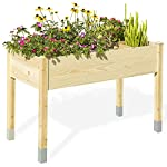 """MIXC Raised Garden Bed, Fir Wooden Planter Boxes for Outdoor Plants, Elevated Standing Planter with Waterproof Legs… 9 【Weather Treated Fir Wood】MIXC raised garden beds is made of untreated fir wood, which resists warping and splitting over time better than cedar. Overall Dimension: 46""""(L) X 21.6""""(W) X 30""""(H).The depth of the planter raised bed is 8.26 inches deep,that can be worked for tomato & carrots & any vegetable flower. 【Drainage Holes & Inner Liner】Four drainage holes are convenient to drain out excess water. Besides, we also provide a Waterproof PE rubber membrane(67""""*55"""") for you to DIY. The liner helps to keep soil and moisture from rotting the wood. 【Easy to Assemble But Sturdy】With complimentary installation guide, you can put this Planter Box together was less than 10 min without hammer and a screwdriver. The joints are dovetailed, which designed for better load-bearing structure. It has a load capacity of up to 385LBS that far heavier than other products."""