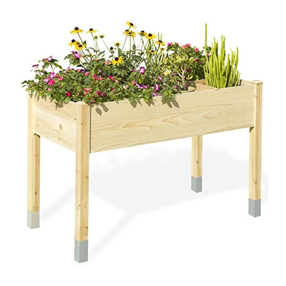 """MIXC Raised Garden Bed, Fir Wooden Planter Boxes for Outdoor Plants, Elevated Standing Planter with Waterproof Legs… 1 【Weather Treated Fir Wood】MIXC raised garden beds is made of untreated fir wood, which resists warping and splitting over time better than cedar. Overall Dimension: 46""""(L) X 21.6""""(W) X 30""""(H).The depth of the planter raised bed is 8.26 inches deep,that can be worked for tomato & carrots & any vegetable flower. 【Drainage Holes & Inner Liner】Four drainage holes are convenient to drain out excess water. Besides, we also provide a Waterproof PE rubber membrane(67""""*55"""") for you to DIY. The liner helps to keep soil and moisture from rotting the wood. 【Easy to Assemble But Sturdy】With complimentary installation guide, you can put this Planter Box together was less than 10 min without hammer and a screwdriver. The joints are dovetailed, which designed for better load-bearing structure. It has a load capacity of up to 385LBS that far heavier than other products."""