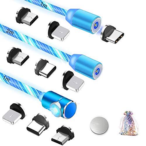 Magnet Ladekabel mit Fließendes LED Licht [3Stück] Micro USB Typ C Lighting Magnetisches Ladekabel 3 in 1 Multi USB Kabel für Samsung Galaxy S7 S8 S9 S10,Huawei P9 P20,i-Product,Sony und mehr