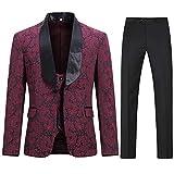 Sliktaa Herren 3 Teilig Anzug Slim fit Smoking Jacke EIN Knopf Schal Revers und Weste und Anzughose Rot