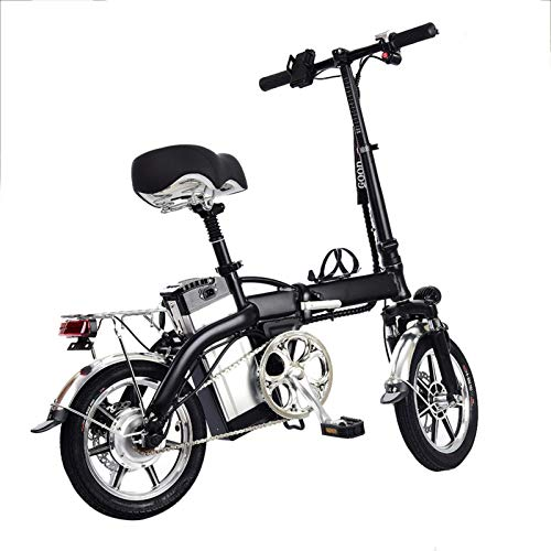 Jannyshop 14' Folding Electric Bike with 48V 12AH Lithium Battery 350w High-speed Motor for Adults -Black