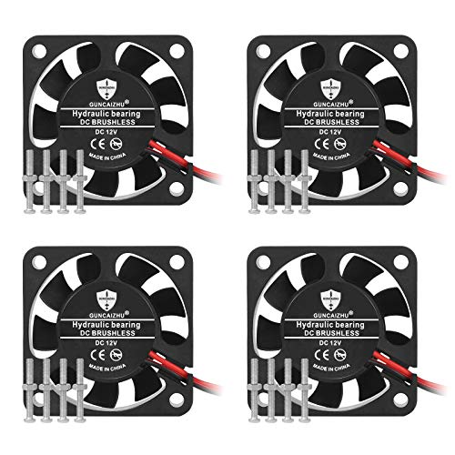 Qooltek 4Pcs Ventola di Raffreddamento, Mini Ventola Di Raffreddamento Silenziosa Da 12V, Ideale Per Stampante 3D, Computer Host e DVR. (40MM, Nero)