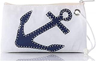 "Sea Bags Navy Anchor Wristlet - Zip Top Wristlet - Recycled Sailcloth Wristlet - Nautical Wristlet - 8""l x 5""h"