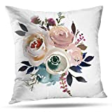 Pakaku Throw Pillow Covers, Light Blue Pink Gray White Watercolor Floral Round Bouquet Navy Peach Home Sofa Cushion Cover Pillowcase Gift Double-Sided Pattern 18 x 18 Inch