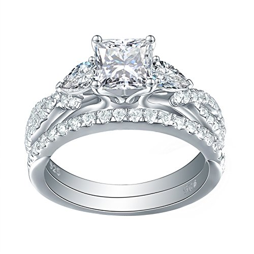 Newshe 1.7ct Princess Pear White AAA Cz 925 Sterling Silver Engagement Wedding Ring Set Size 7