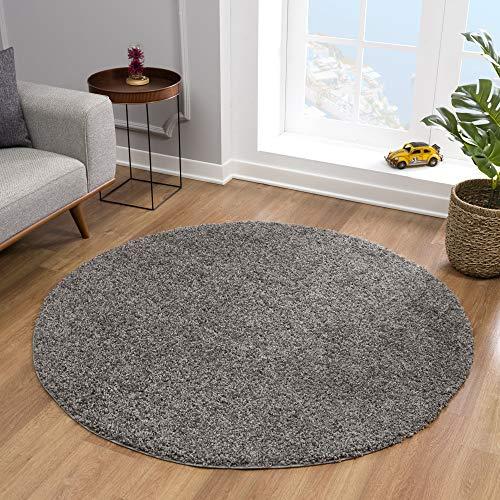 Impression Teppich Rund - Perfect Teppiche fürs Wohnzimmer, Flur, Schlafzimmer, Kinderzimmer, Babyzimmer - Hochwertiger Öko-Tex Zertifizierter Flächenteppich - Solid Color Grau - 120 cm Rund