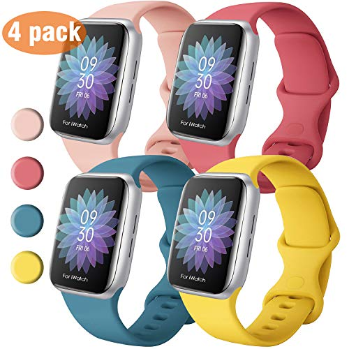 QIENGO 4 Pack Sport Bands Compatible with Apple Watch Band 38mm 40mm 42mm 44mm, Soft Silicone Replacement Band Compatible with iWatch Series 5/4/3/2/1