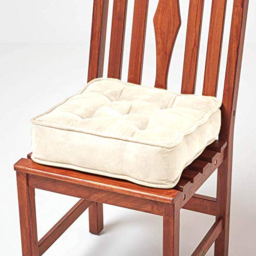 HOMESCAPES Cream Dining Chair Booster Cushion Large Firm 40 cm Square Seat Pad with Supportive 10 cm Thick Lift Soft Touch Faux Suede Cushion For The Elderly, Post-Operative and Pregnancy