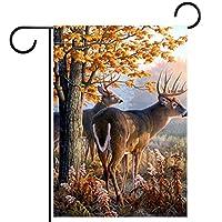 ウェルカムガーデンフラッグ(12x18in)両面垂直ヤード屋外装飾,鹿