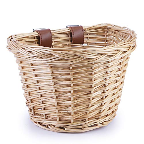 YMhoart Kid's Front Handlebar Bike Basket Girl's Detachable Woven Bicycle Basket for Children Gift Little Boys Balance Tricycle for Women Wicker Round Electric Bike Basket for Ladies(Primary)