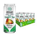 Steaz Organic Zero Calorie Peach Mango Iced Green Tea, 16 FL OZ (Pack of 12)