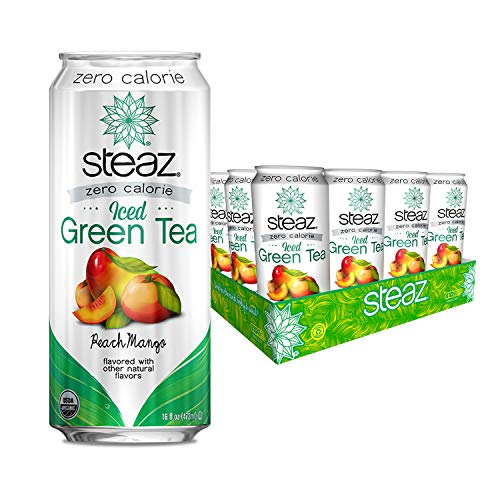 Steaz Organic Zero Calorie Iced Green Tea, Peach Mango, 16 FL OZ (Pack of 12)