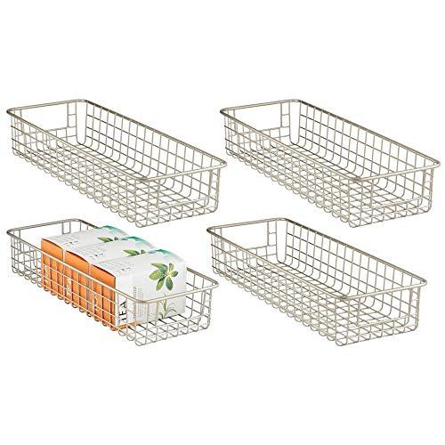 mDesign – Cajas de almacenaje multiuso – Caja organizadora multipropósito con asas para transporte – Cesta de almacenaje compacta para cocina, baño, oficina o garaje – Color: satinado