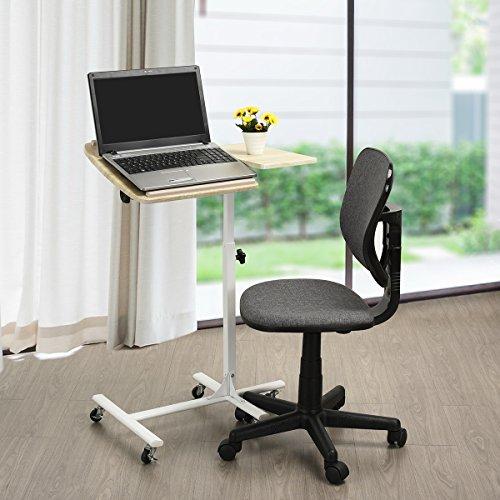 Furniturer mobile computer laptop supporto da scrivania regolabile angolo di carrello di portatile da tavolo con girevole nero top e rotelle/ruote