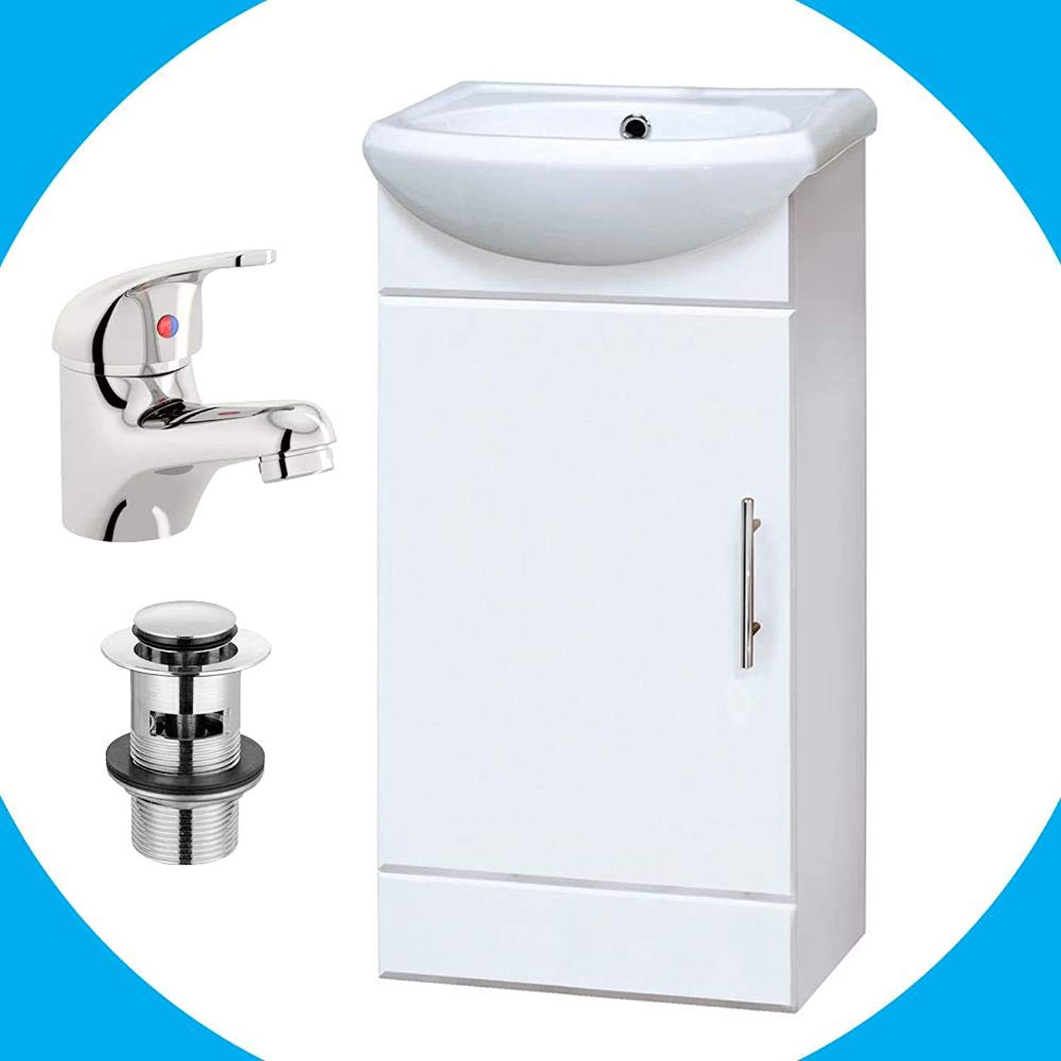 The Home Store Sienna 420mm Vanity Unit High Gloss White Including Basin Tap & Waste