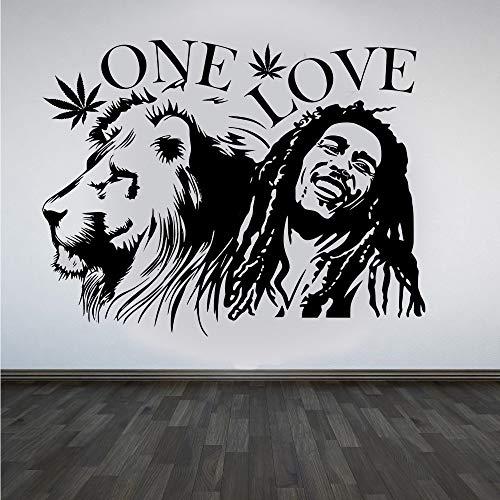 Reggae Music Singer Star Bob Marley Lion King Maple leaf ONE LOVE Smile Etiqueta de la pared Vinilo Calcomanía para automóviles Fans Dormitorio Sala de estar Club Studio Decoración para el hogar