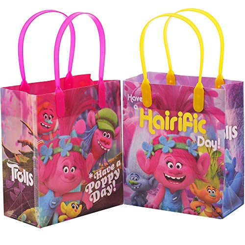 Dreamworks Trolls Premium Quality Party Favor Reusable Goodie/Gift/Bags 12 Pieces