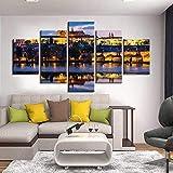 5 Piece Canvas Imprimir Cartel Imprimir Imagen Del Castillo De Praga Y El Puente De Carlos Decoración De La Casa Arte De Pared Moderno Sin Marco