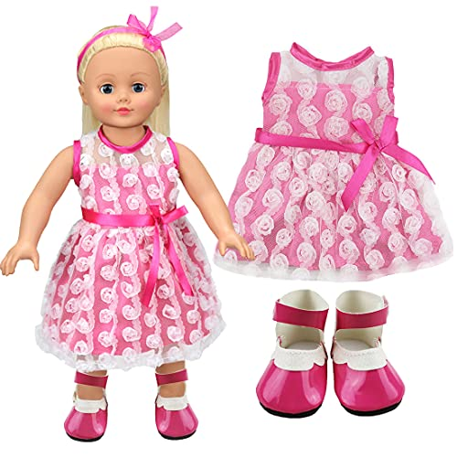Tomicy Ropa de Muñecas Bebé,Juego de 2 Piezas de Ropa de Cumpleaños para Muñecas de 43 cm, Vestido y Zapatos Accesorios como Regalo para Girl Doll Muñeca(Pink)