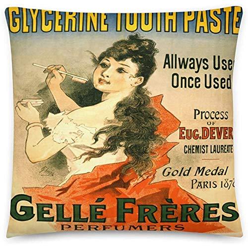 GodYo Vintage Poster - Glycerin Zahnpasta 0538 - Quadratische Kissenbezug Füllung - 18 x 18