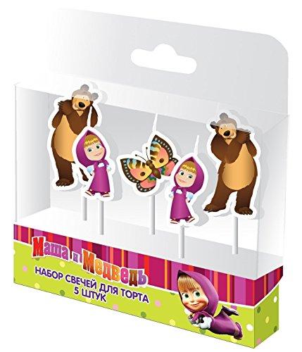 5psc productos para fiesta El Set de velas para tartas de Masha y el oso assicura y para assicura y para