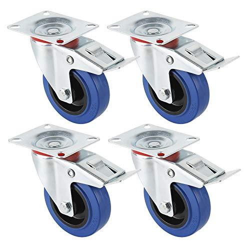 Forever Speed Transportrollen Möbelrollen Industrie Schwerlastrollen Lenkrollen und Lenkrollen mit Bremse, 125mm Gummi Lenkrollen, 4 Stück, Tragfähigkeit 300KG,Verzinkt Silber/Blau
