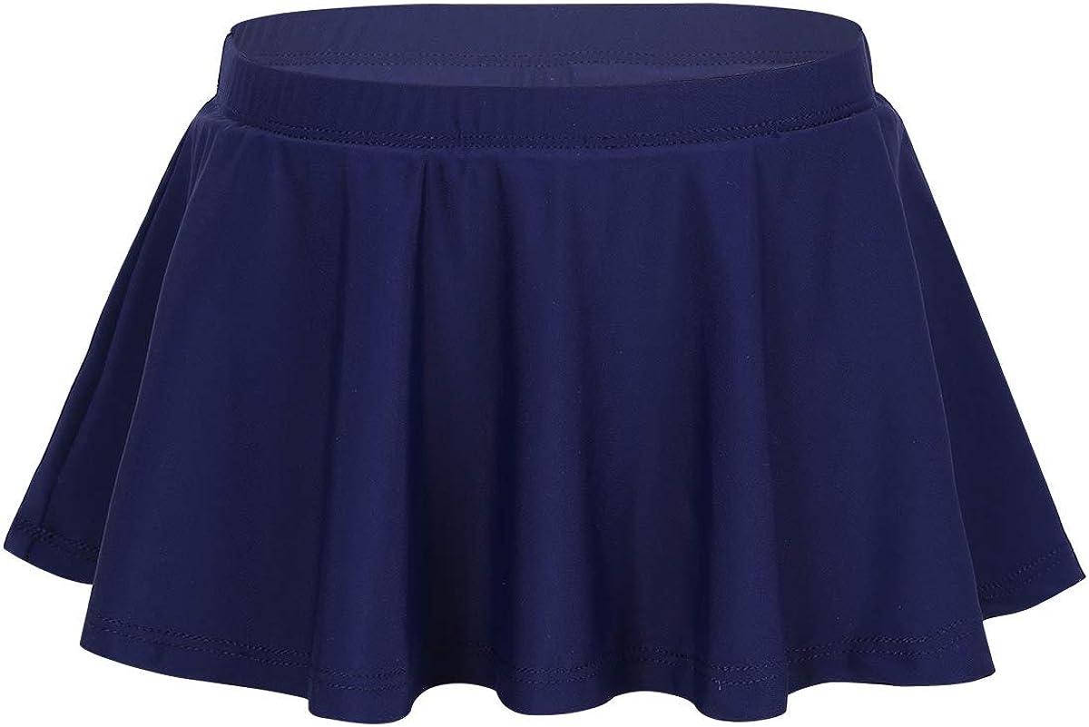 MSemis Kids Girls Solid Ruffles Swimming Skirts Bottoms Bikini Skort Rash Guard Swimsuit Swimdress