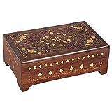 Marrakech Accessoires - Caja de Madera con Tapa (20 cm), diseño Oriental