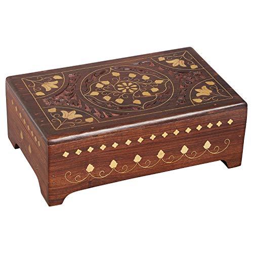 Orientalische kleine Aufbewahrungsbox mit Deckel Ebad 20cm groß | Orientalischer Schmuckkästchen für Mädchen und Damen zur Schmuckaufbewahrung | Marokkanische Schatulle Box aus Holz