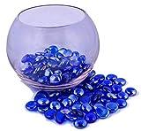 neez ciottoli di vetro pepite gemme rotonde decorative per vasi d'acquario casa (blu-100pcs / 500gm colore)