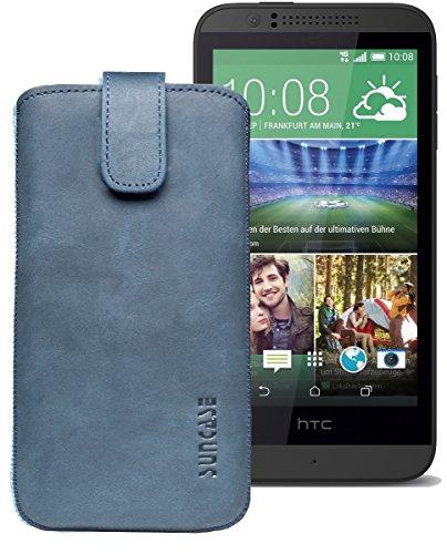 Original Suncase® Etui Tasche für HTC Desire 510 | HTC Desire 526G Dual SIM | ZTE Blade V6 Leder Etui Handytasche Ledertasche Schutzhülle Hülle Hülle *Lasche mit Rückzugfunktion* pebble-blue