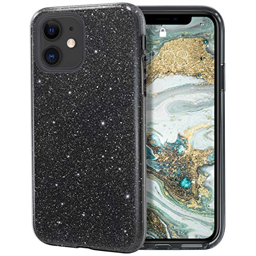 MILPROX iPhone 11 Case, Bling Sparkly Glitter Luxury Shiny Sparker Shell, Protective 3 Layer Hybrid Anti-Slick Slim Soft Cover for iPhone 11 6.1 inch (2019)-Black