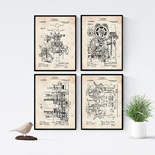 Nacnic Vintage - Pack de 4 Láminas con Patentes de IMPRENTAS. Set de Posters con inventos y Patentes Antiguas. Elije el Color Que Más te guste. Impreso en Papel de 250 Gramos de Alta Calidad