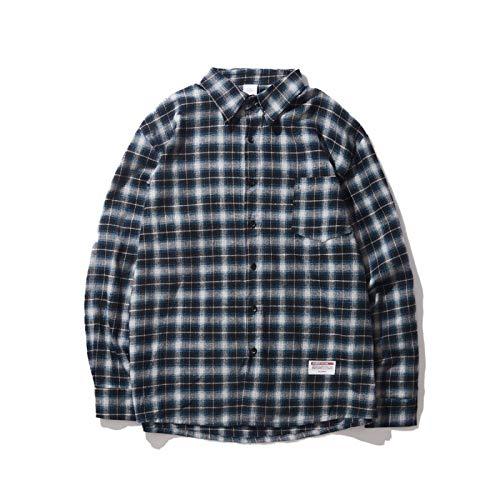 Camisa de Manga Larga a Cuadros Retro para Hombre, Ropa de Calle Relajada, Tendencia, Camisas básicas de Solapa de Moda clásica con Bolsillo M