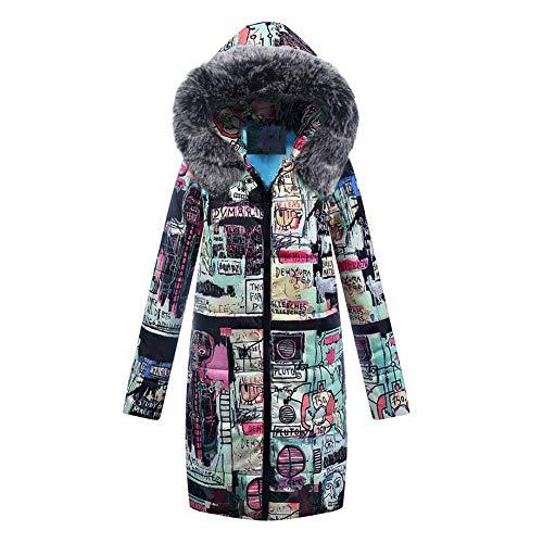 WODENINEK Vrouwen winter donsjas katoenen kleding grote bontkraag lang grappig patroon warm houden capuchon mantel