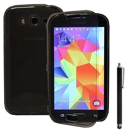 VCOMP Samsung Galaxy Grand Neo/groot voordeel I9060 I9062 I9060I: siliconengelgel-portemonnee met veer + pen - grijs