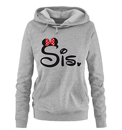 Comedy Shirts - SIS. - Minnie - Damen Hoodie - Grau/Schwarz-Rot Gr. S