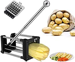 French Fry Cutter, Professional Potato Metal Chipper with Extended Handle and 2 Interchangeable Blades,Perfect For Potatoes, Carrots, Cucumbers Or Anything You Want to Slice Evenly